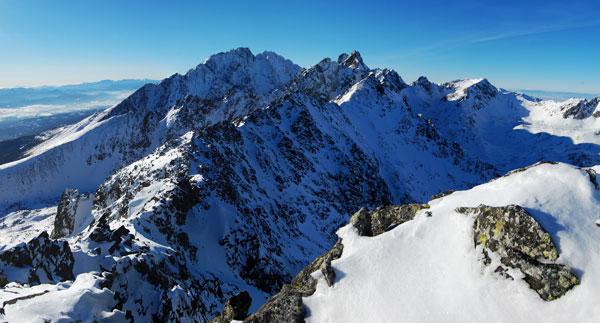 Gerlachovský štít z vrcholu Slavkovské kopy (2345m). Leden 2011.